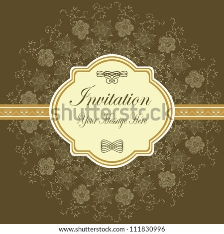 elegant brown floral hand drawn invitation with space for your text