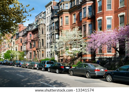 Elegant brownstones in residential street of Back Bay Boston - stock photo