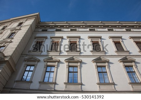 Elegant Building Architecture. Building's Facade in Vienna. Facade Building. Building Background, House wall structure.