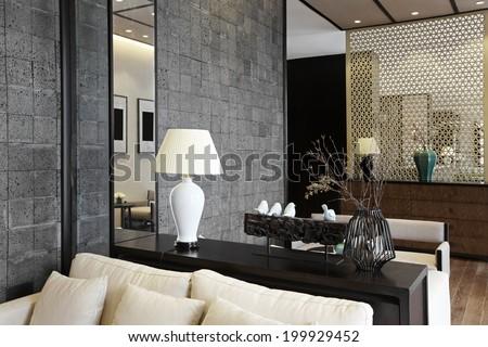 Elegant business clubhouse interiors - stock photo