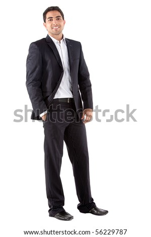 Elegant business man in a suit - isolated over a white background - stock photo