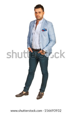 Elegant business man isolated on white background - stock photo