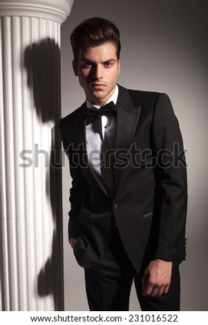 Elegant business man posing on studio background near a white column.