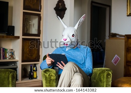 elegant business multitasking rabbit mask man using devices at home - stock photo
