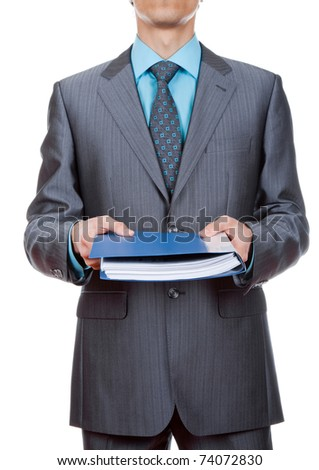 Elegant businessman is holding folders with paperwork isolated on white - stock photo