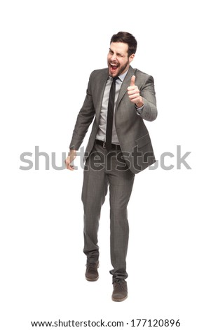 elegant businessman showing ok and winking on white background - stock photo