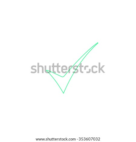 Elegant Check mark. Outline symbol on white background. Simple line icon