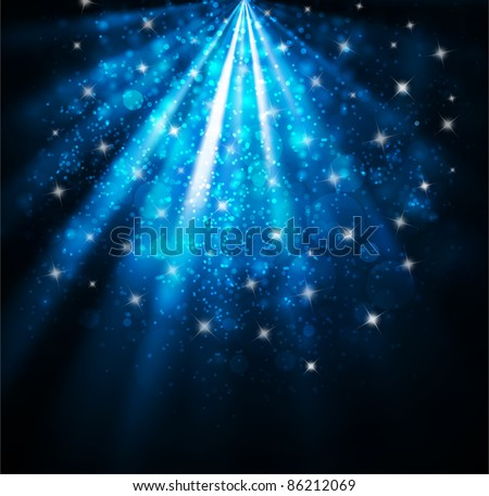 Elegant christmas background with snow and stars - stock photo