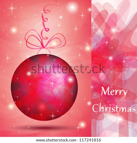 Elegant Christmas ball with pink shades for wishes card