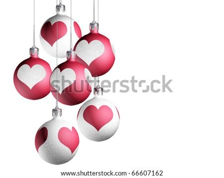 Elegant christmas decor isolated on white background. - stock photo