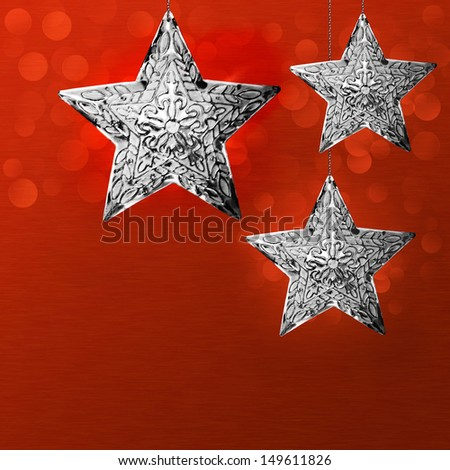 Elegant Christmas Holiday Card Background Design Red Silver Grey North Star Snowflake Ornaments Text Area Brushed Metal LED Bokeh Lights Seasonal Merry Christmas Snow Flake Greeting Frosty Xmas Winter