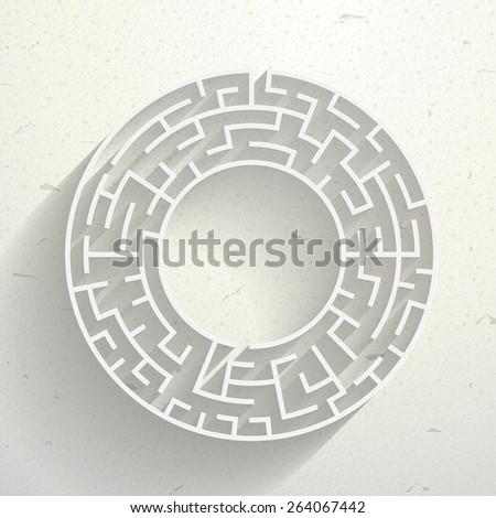 elegant circular maze with shadow isolated on beige background - stock photo