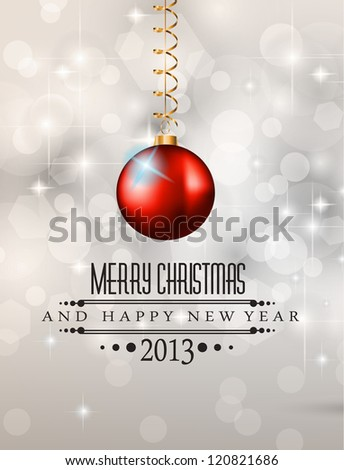Elegant Classic Christmas Background with new red baubles and a lot of colorful glitters for a magic atmosphere. Idea for celebratiion or invitation flyers. - stock photo