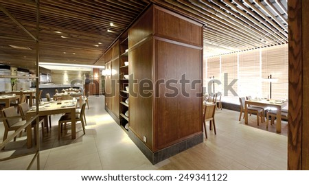 Elegant comfortable restaurant interior - stock photo