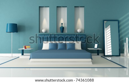 elegant contemporary bedroom with niche - rendering - stock photo