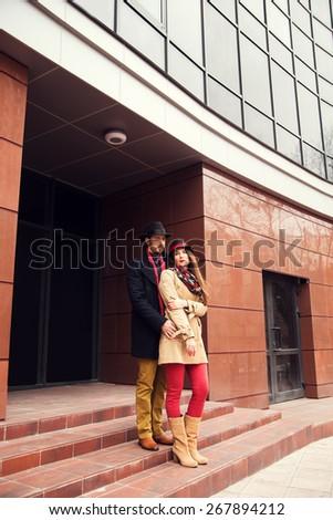 Elegant couple in the street - stock photo