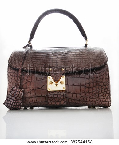 elegant crocodile leather bag with a reflection