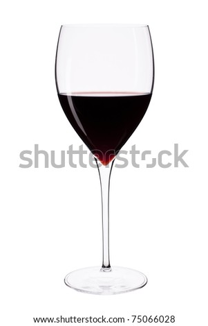 Elegant crystal wine glass with red wine isolated on white background with clipping path. - stock photo