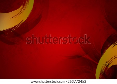 elegant design of golden strokes over brush and strokes textured design. Red elegance template background. Chinese new year, presentation, wallpaper, Christmas, modern decoration idea wallpaper - stock photo