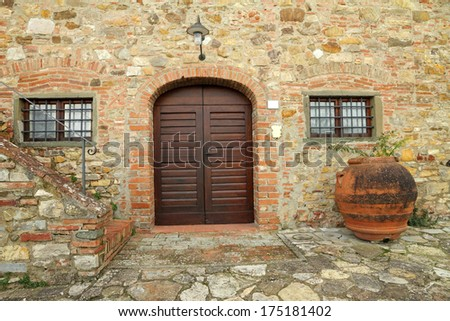 elegant doorway to the tuscan villa, Italy - stock photo