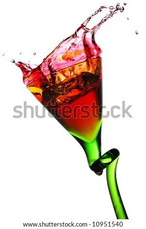 elegant drinking glass with pink colored beverage - stock photo