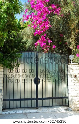 Elegant Entrance Gate with Pink Flowers