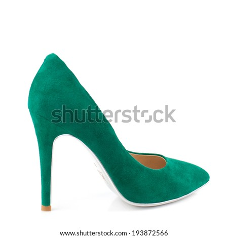 Elegant expensive green suede high heel women shoes on white.Please, look for more photos like this in my sets.  - stock photo