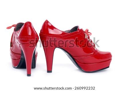 Elegant expensive red heel women shoes - stock photo