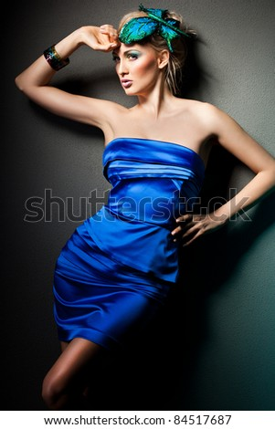 elegant fashionable woman in blue dress - stock photo