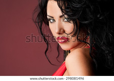 elegant fashionable woman in red dress - stock photo