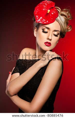 elegant fashionable woman with flower