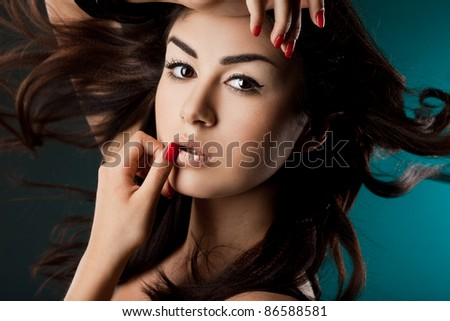 elegant fashionable woman with hairs