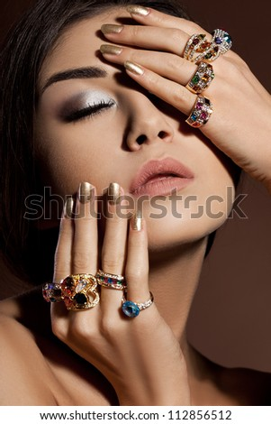 elegant fashionable woman with jewelry - stock photo