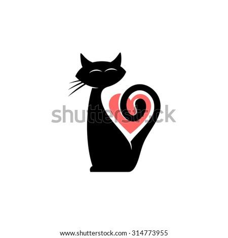 Elegant female cat silhouette heart shape stock illustration elegant female cat silhouette with heart shape logo template pronofoot35fo Gallery