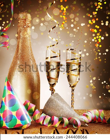 Elegant Festival Decoration Concept - Party Cone Hats and Wines with Streamers on Glittery Platform. Emphasizing Confetti Effect on Gradient Brown Background. - stock photo