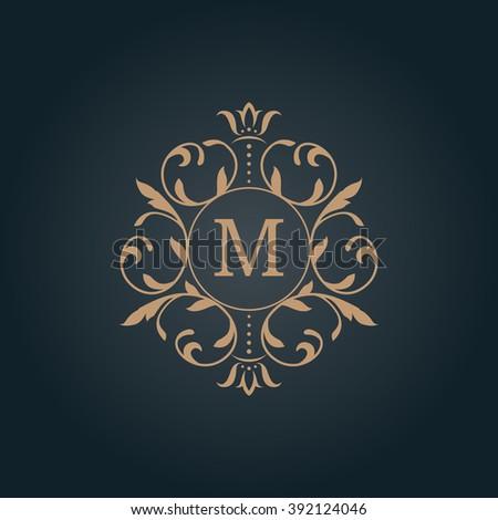 Elegant floral monogram design template for one or two letters . Wedding monogram. Calligraphic elegant ornament. Business sign, monogram identity for restaurant, boutique, hotel, heraldic, jewelry. - stock photo