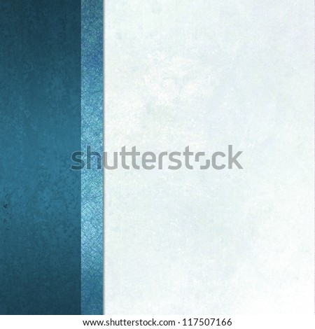 elegant formal background with light blue white background parchment paper with ribbon  striped side bar border of blue color with vintage grunge background texture and copy space for brochure or menu - stock photo