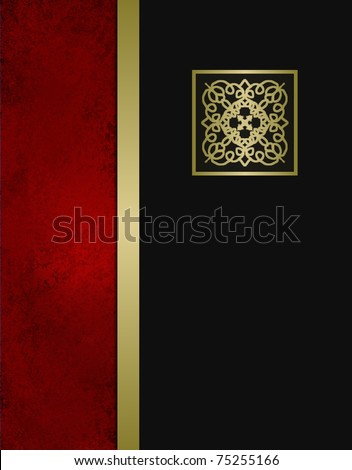 elegant formal black, red, and gold background or cover with classic black layer that has copy space with gold trim accent on grunge red textured layout design - stock photo
