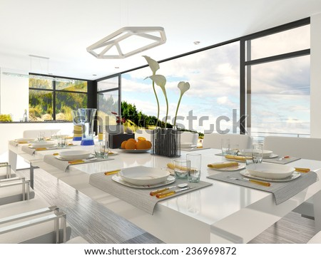 Elegant Formal Table Setting at the Dining Area Inside Architectural White House. 3D Rendering.  - stock photo