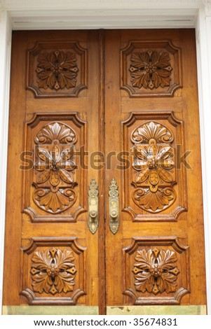 elegant front door to an American house - stock photo