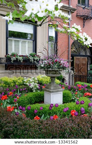Elegant garden in Back Bay - stock photo