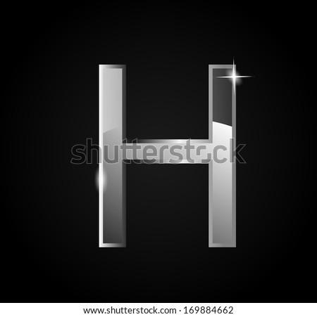 Elegant glass shining letter H - stock photo