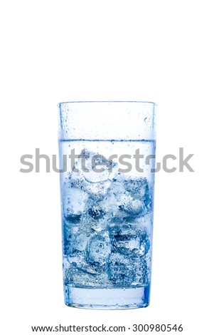 elegant glass with water and ice on a white background