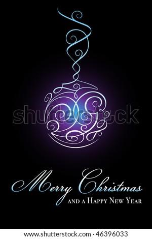 Elegant glowing christmas ball - stock photo