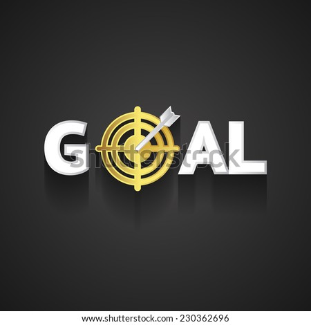 Elegant Goal Logo Design Emphasizing Arrow on Golden Target Concept  on Dark Gray Background - stock photo