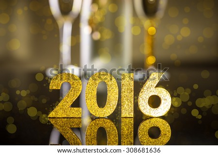Elegant gold 2016 New Year background with textured golden numbers - stock photo