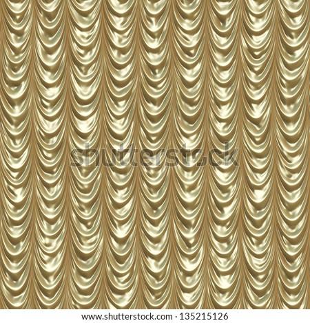 Elegant golden retro theater draped curtain background. - stock photo