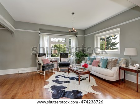 Bright living room comfortable sofa antique stock photo for Nice interior design living room