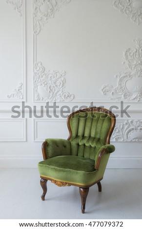 Elegant Green Armchair In Luxury Clean Bright White Interior Part 96