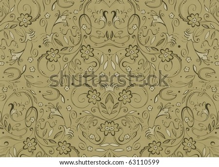 Elegant green decorative floral christmas background. More of this motif & more ornaments in my port. - stock photo